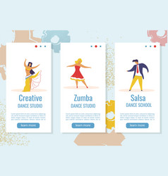 dancing flat cartoon characters web banner stories vector image