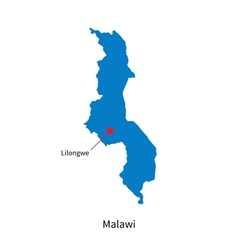 Detailed map of Malawi and capital city Lilongwe vector image vector image