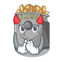 Devil cooking french fries in deep fryer cartoon vector