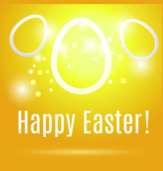Easter eggs on yellow background with glow vector