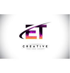 Et e t grunge letter logo with purple vibrant vector