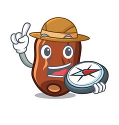 Explorer dates fruit mascot cartoon vector