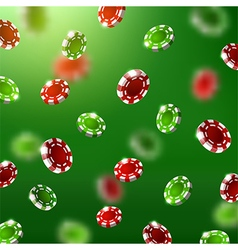 Falling green and red poker chips vector
