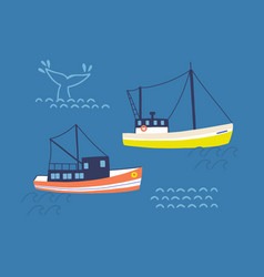 fishing trawlers in open sea flat vector image
