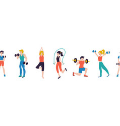 Fitness workout characters seamless vector