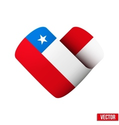 Flag icon in the form of heart I love Chile vector image