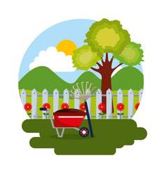 gardening scene wheelbarrow pitchfork tree flowers vector image
