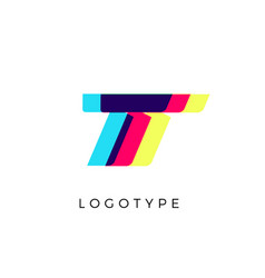 Glitch effect letter t colored spectrum overlay vector