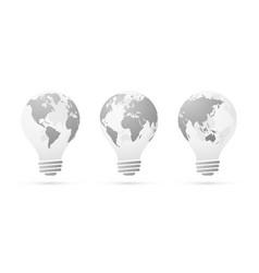 globe bulb icon set vector image
