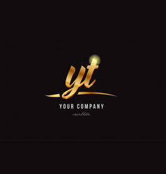 gold alphabet letter yt y t logo combination icon vector image