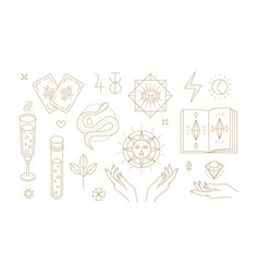Golden outline magic symbols for esoteric vector