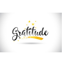 Gratitude word text with golden stars trail and vector