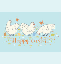 greeting card with with chickens and flowers vector image