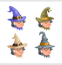 halloween granny cartoon witch characters set vector image