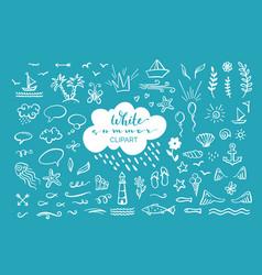 Hand-drawn clipart on sea ocean summer theme vector