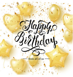 happy birthday background with golden balloons vector image