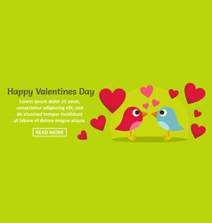happy valentines day banner horizontal concept vector image