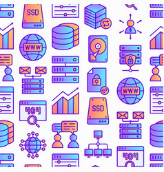 hosting seamless pattern with thin line icons vector image