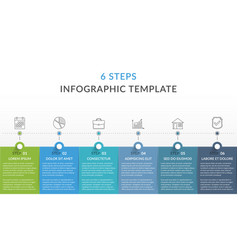 infographic template with 6 steps vector image