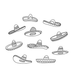 informational poster set hand drawn mexican hat vector image