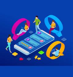 Isometric concept of social media network digital vector
