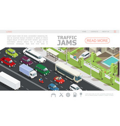 isometric traffic jam web page template vector image