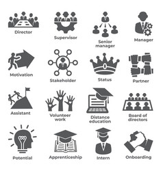 leadership icons on white background vector image