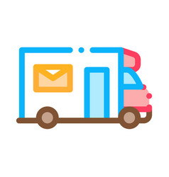 mail truck postal transportation company icon vector image