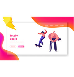 male and female skateboarder characters jumping vector image