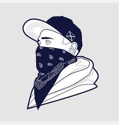 man in cap and bandana art vector image