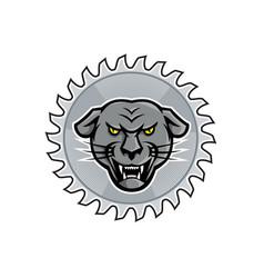 melanistic jaguar in saw blade mascot vector image