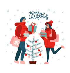 merry christmas time greeting card with couple of vector image