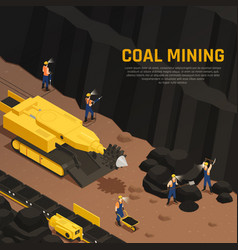 Miners coal production isometric composition vector