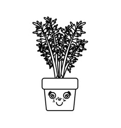 Monochrome silhouette of caricature carrot plant vector