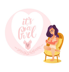 Newborn baby girl card with breast feeding mom vector