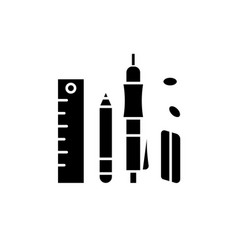 Office supplies black icon sign on vector