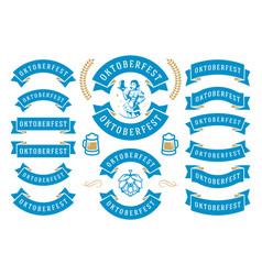 Oktoberfest celebration beer festival ribbons and vector