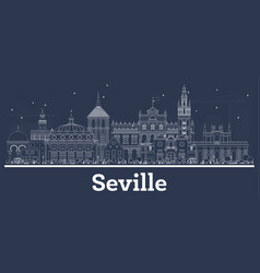 outline seville spain city skyline with white vector image