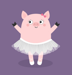 Pig bellerina piggy piglet ballet dancer dressed vector