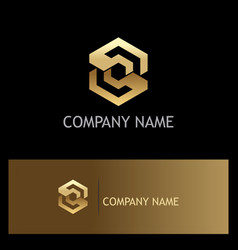 Polygon gold letter s company logo vector