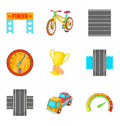 race icons set cartoon style vector image
