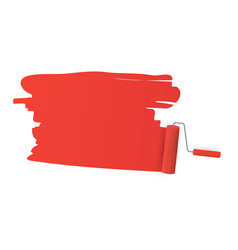 Red color trail roller brush on white vector