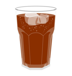 Refreshing bubbly soda pop with ice cubes vector