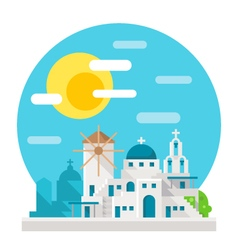 Santorini flat design landmark vector