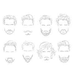 set beard hair mustache man silhouette vector image
