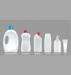 set bottles with detergent soap washing powder vector image