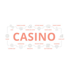 set gambling and casino thin line banner vector image