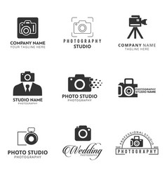 Set of 9 black icon for photographer camera icon vector