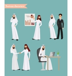Set of arab man business character at office work vector