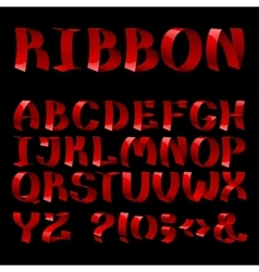 Set of isolated red color curled shiny ribbon font vector